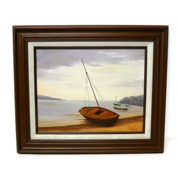 1991 Sailboat on Shore painting . wood framed